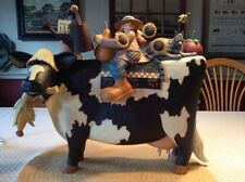 """Williraye - """"Country Fair or Bust"""" - Girl and Friends Riding a Cow - 7621 - NIB"""