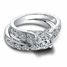 1.50 Ct Natural Diamond Engagement Rings 14K White Gold Band Sets Size 5,6,7