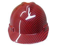 Hydrographic Red Carbon Fiber MSA V-GUARD Cap Hard Hat