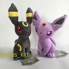 "2X TOMY Pokemon Plush Espeon & Umbreon Soft Toy Stuffed Animal Teddy Doll 9"""