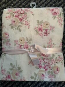 NEW RACHEL ASHWELL~SIMPLY SHABBY CHIC BLUSH BEAUTY SHOWER CURTAIN~CABBAGE ROSE~