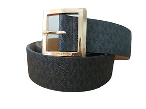 MICHAEL KORS MK WOMEN'S BLACK BELT GOLD BUCKLE Size M STYLE 556001C