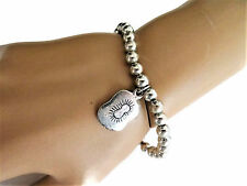 Bracelet Stretchy with Dangly Charm Gorgeous Antiqued Silver Tone Beaded