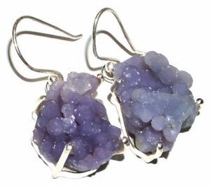 Grape Agate Manakarra Botryoidal Crystal 925 Sterling Silver Earrings JB14874