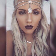SILVER Rhinestone Princess Tiara Headband boho Grecian Bride Prom Hair Jewelry