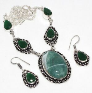 Moss Agate Green Onyx 925 Sterling Silver Plated Necklace Earrings Set GW