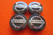 4 Nabenabdeckungen/Radkappen für Alufelgen von Nissan in schwarz