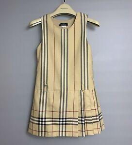 BURBERRY Nova Check Girls Dress Size 8 Y Wool Blend Plaid Sleeveless Lined