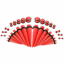 Ear Stretching Tapers with Plugs Red Glow In The Dark Set Of 36 Pieces 14G-00G