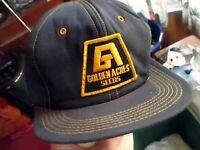 Vtg 80s Hat Cap Snap Back BLACK/GOLD EMBROIDED GOLDEN ACRES SEEDS PATCH NEW