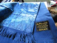 Vintage men's Tootal unusual Blue geometric fringed 80% wool double sided scarf