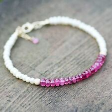 """Natural Pearl and Pink Tourmaline Bracelet 14k Yellow Gold Filled , 7.25"""" - 7.9"""""""