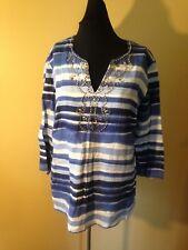 JM COLLECTION Striped Bead Embellished V Neck Linen Tunic Blue Shirt Top Size M