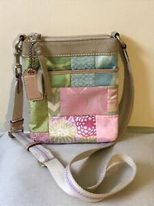 Coach Pastel Patchwork Swingpack Crossbody Purse M05O Leather & Fabric