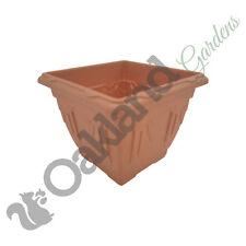 4 X vénitien carré plastique Planters 22 cm terre cuite Patio Fleur baignoire NEUF