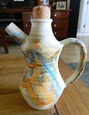 Vintage NEMADJI Pottery Turquoise Blue Orange Tea Coffee Cocoa Pot Pitcher NICE!