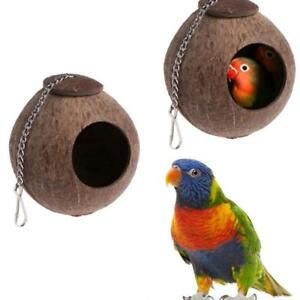 Natural Coconut Shell Bird Nest House Hut Cage Feeder Parrot Parakeet Toy