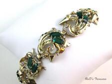 Vintage DEROSA Sterling Vermeil Emerald Green Rhinestone Bracelet