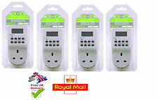 4 x PIFCO 12/24 Hour Timer Switch Socket 7 Day Digital LCD Electronic Plug-in