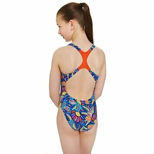 Zoggs Girls Indian Tribe Rowleeback Swimsuit Age 5-6 9-10 Floral Sporty RRP £22
