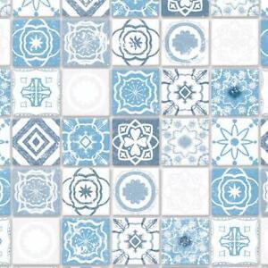 Dolls House Blue Mediterranean Floor Tiles Miniature 1:12 Flooring Card Sheet