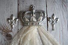 Silver CROWN WALL DECOR NURSERY CRIB Crown with matching hooks Fleur De Lis ChiC