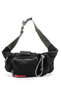 Prada Sport Nylon Adjustable Belt Bag Satchel Black Grey