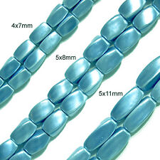 MAGNETIC HEMATITE BEADS BABY BLUE PEARLIZED 5X8MM TWIST BEAD STRAND P20A