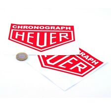 Heuer Chronograph Red Stickers Classic Racing Vinyl Decals 150mm x2 F1 Rally