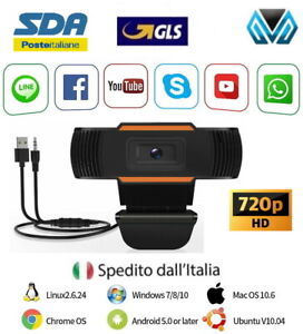 WEBCAM CON MICROFONO HD 720X1280 USB VIDEOCAMERA SMART WORKING ZOOM SKYPE CAMERA