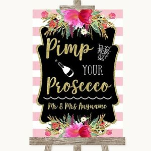 Gold & Pink Stripes Pimp Your Prosecco Personalised Wedding Sign