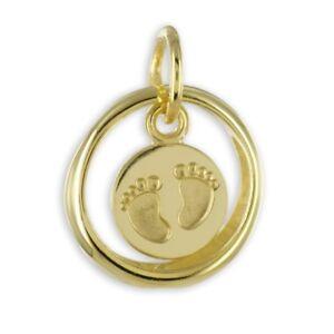 Gold 333 Baby Taufe Taufring Füße Füßchen Fußabdruck mit Stein + Silber VG Kette