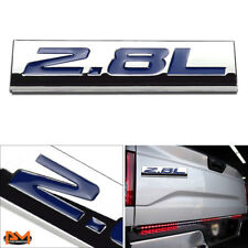"""2.8L"" Polished Metal 3D Decal Blue Emblem Exterior Sticker For Volkswagen/Saab"