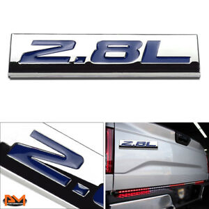 """""""2.8L"""" Polished Metal 3D Decal Blue Emblem Exterior Sticker For Volkswagen/Saab"""