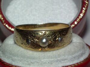 V Scarce Late Victorian 1896 Solid 15ct Gold Pearl & Diamond Locket Back Ring