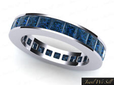 Genuine 1.90Ct Princess Blue Diamond Channel Eternity Band Ring 950 Platinum SI1