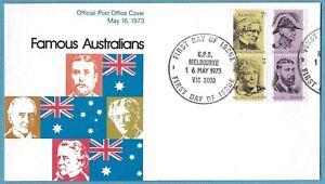 Australian 1973 Famous Australians FDC Stamp D257