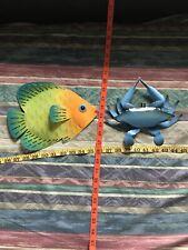 Metal Fish Yellow Orange Teal Cut Out Hanging Hook Muted Blue Black Crab 11� Lot