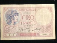 5 Cinq Francs Banque de France 1916-18 Issue EJ.  11 1930.EJ.AE. Pick #72d VF+
