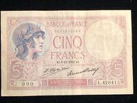 5 Cinq Francs Banque de France 1916-18 Issue EJ.  11 1930.EJ.AE. Pick #72d VF+