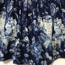 Rare Ralph Lauren Isadora Queen Bedskirt Dark Blue Floral Vintage Shabby Roses