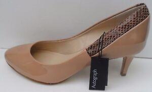M&S New Autograph Isolia Patent Beige Wider Fit Shoes - Size UK 7 EUR 40.5
