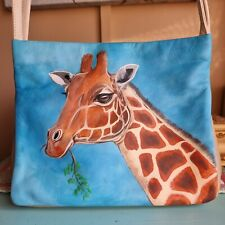 Cream / Fawn Leather Small  Tula  Shoulder Handbag Hand Painted Giraffe Browsing