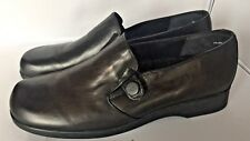 Munro American Solano Black Leather Block Heel Loafers Shoes Womens 9.5 M 70281