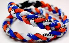 "PACK OF TWO 20"" 3 Rope Titanium Sports Necklace Blue Orange White Baseball"