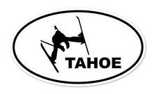 "Tahoe Skier Ski Skiing Oval car window bumper sticker decal 5"" x 3"""