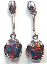 Xmas Ladies Gift Australian Natural Black Triplet Opal Earring Sterling Silver