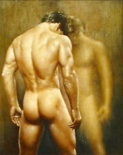 """Large oil painting gay nude male portrait young man in bathroom canvas 36"""""""