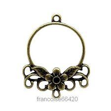 2 Connecteurs entre-deux Fleur bronze 34x27mm Perles apprêts création bijou A382