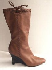 Predictions Womens 9 Med Mid Calf Boots Brown Zip Wedge Heel Western Moc Casual